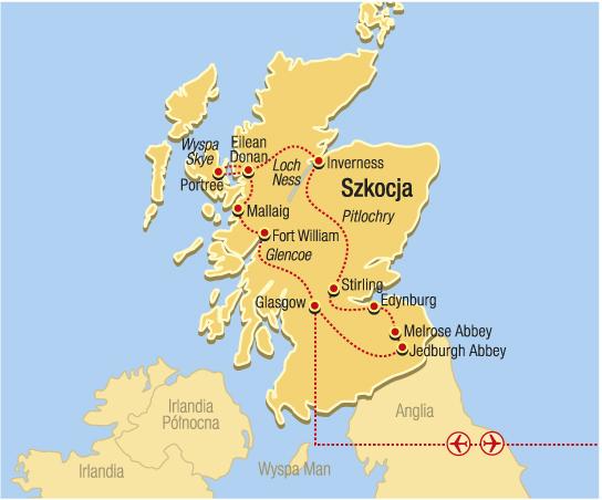 Mapka wycieczek objazdowych